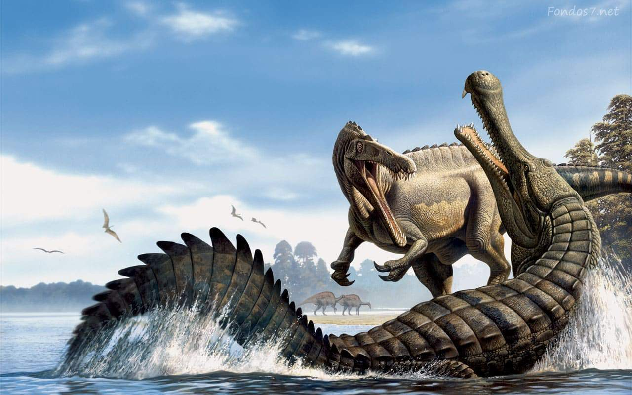 pelea entre dinosaurios marinos y terrestres