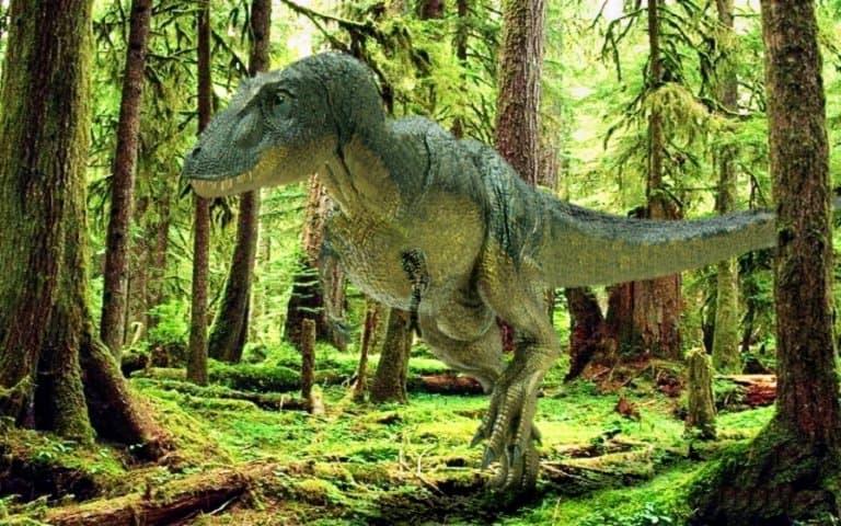 dinosaurios en su hábitat natural