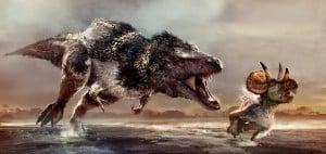 Tyrannosaurus rex en busca de una cria de ceratops